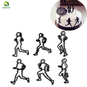6PCS/SET Running Theme Cookie Cutter Plastic Run Sports Fondant Biscuit Mold Cutter Sugarcraft Cake Mold Cake Decorating Tools