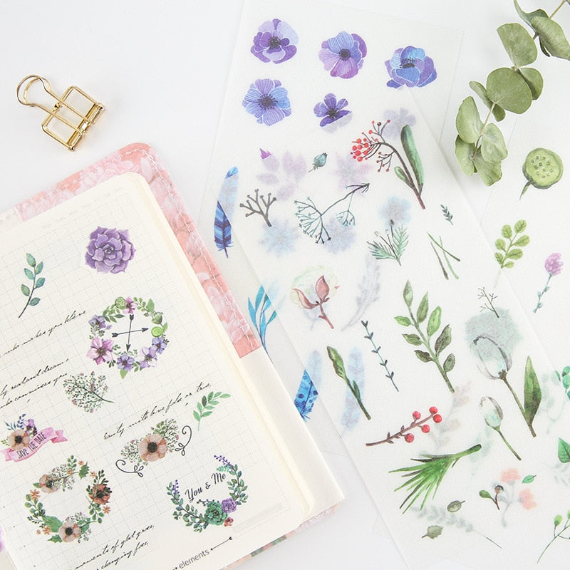 6Sheets/Set Summer Leaves Plants Creative Decoration Scrapbooking Stickers Transparent PVC Stationery Planner Stickers