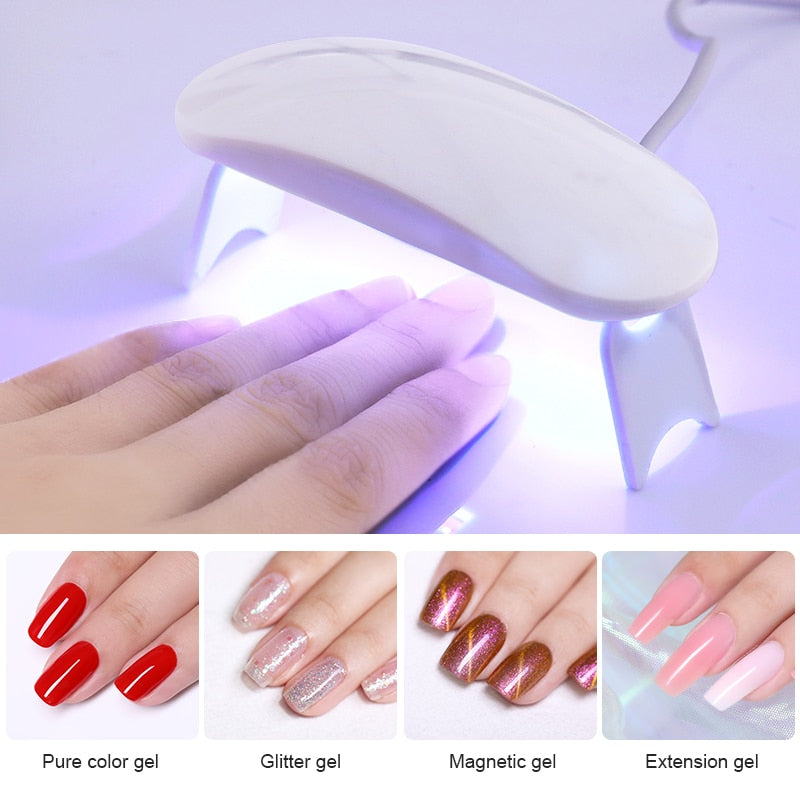 6W White Nail Dryer Machine UV LED Lamp Portable Micro USB Cable Home Use Nail UV Gel Varnish Dryer 3 LEDS Lamp Nail Art Tools