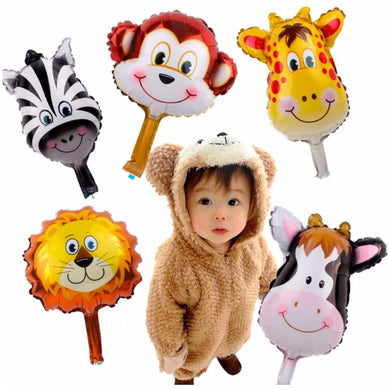 6pcs/lot Cute Jungle Foil Animal Balloons Lion Monkey Deer Helium Balloon Kids Favors Birthday Party Decoration Ballon