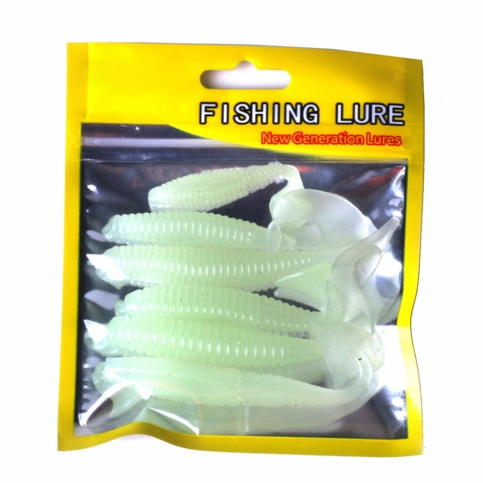 6pcs/lot Luminous Paddle Tail Soft Grubs Glow in Dark T Tail Lure Jig Head Soft Lure for Bass Fishing Mandarin Fishing