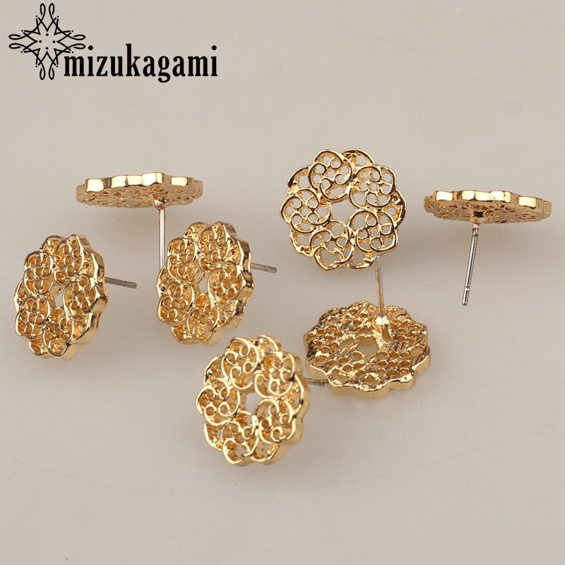6pcs/lot Zinc Alloy Fashion Golden Round Flowers Base Earrings Connector Charms For DIY Fashion Earrings Jewelry Accessories