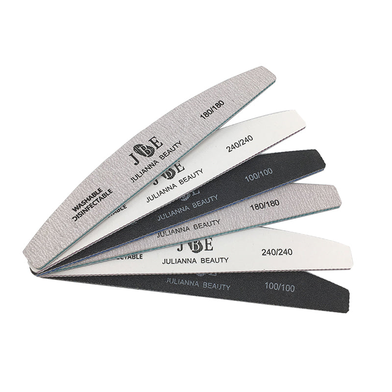 6pcs/ pack 100/180/240 Grit Nail Files Washable Double-Side Emery Board Nail Buffering Files Salon Manicure Tools Supplier