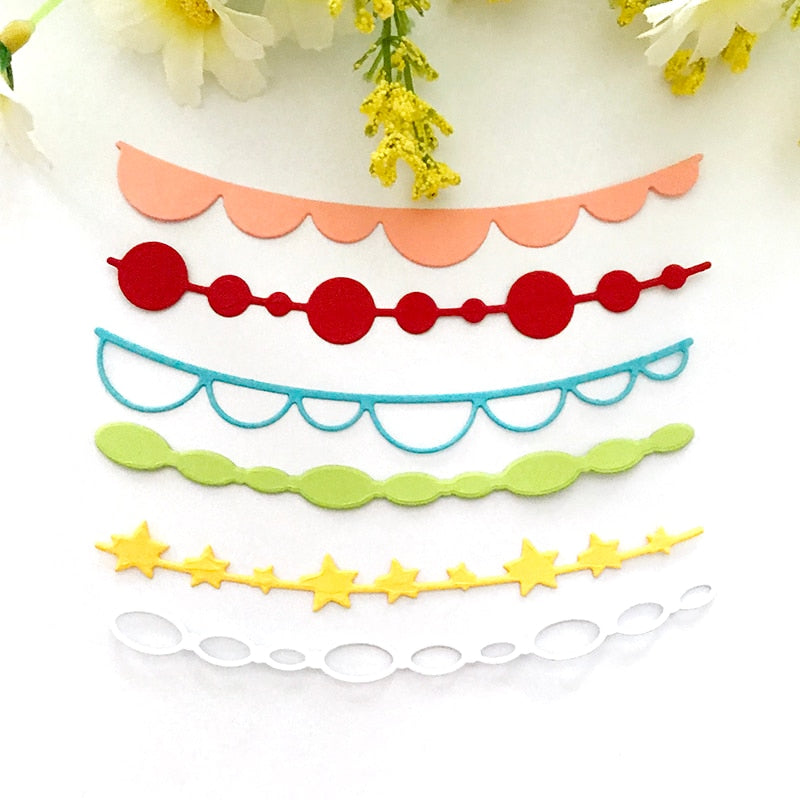 6pcs/set Scallop Banner border Metal Cutting Dies Linked Garland Craft Die Cut For DIY Scrapbooking Album Paper Card Decorative