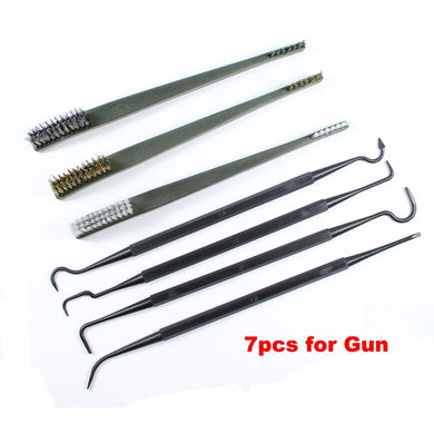 7 pcs/set Gun Hunting Cleaning Kit 3pcs Steel Wire Brush 4pcs Nylon Pick Tactical Rifle Gun Cleaning Tool