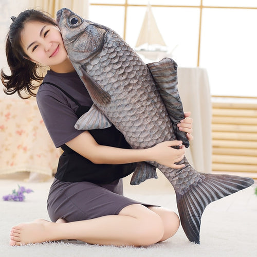 70cm Creative Simulation Crucian Fish Plush Pillow Stuffed Cartoon Animal Toy Soft Fish Pillow Dolls for Baby&Kids Children Gift