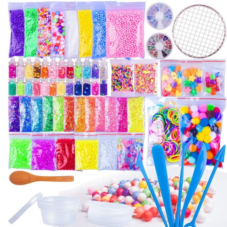 72 Pack Making Kits Supplies for Slime, Including Foam Balls,Fishbowl Beads, Net, Glitter Jars,Pearls, Sugar Paper fishing beads