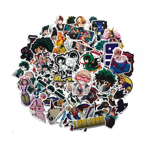 73Pcs/lot My hero Academy 2019 Stickers Decal For Snowboard Laptop Luggage Car Fridge DIY Styling Vinyl Home Decor Pegatina