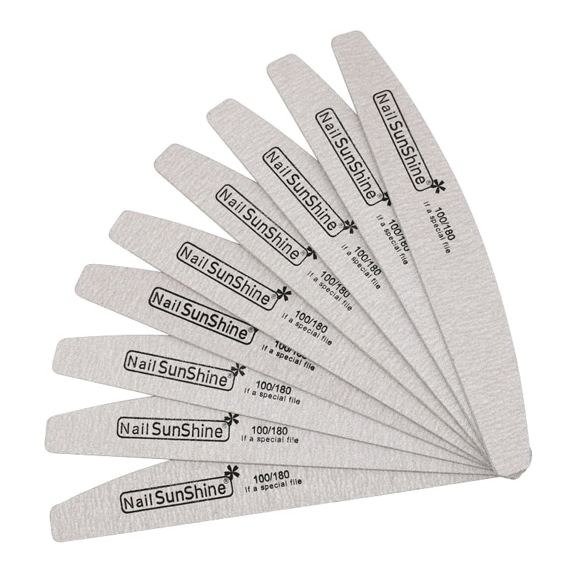 7pcs/lot Wooden Nail Files For Manicure 100/180 Strong Thick Sandpaper Sanding Nails File Buffs Buffing Grey Boat Nail Care Tool