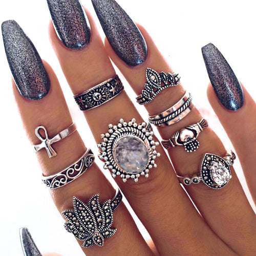 9 pcs/set Knuckle Ring Set For Women Antique Silver Color Crystal Lotus Crown Cross Sun Totem Mid Finger Rings Heart Jewelry
