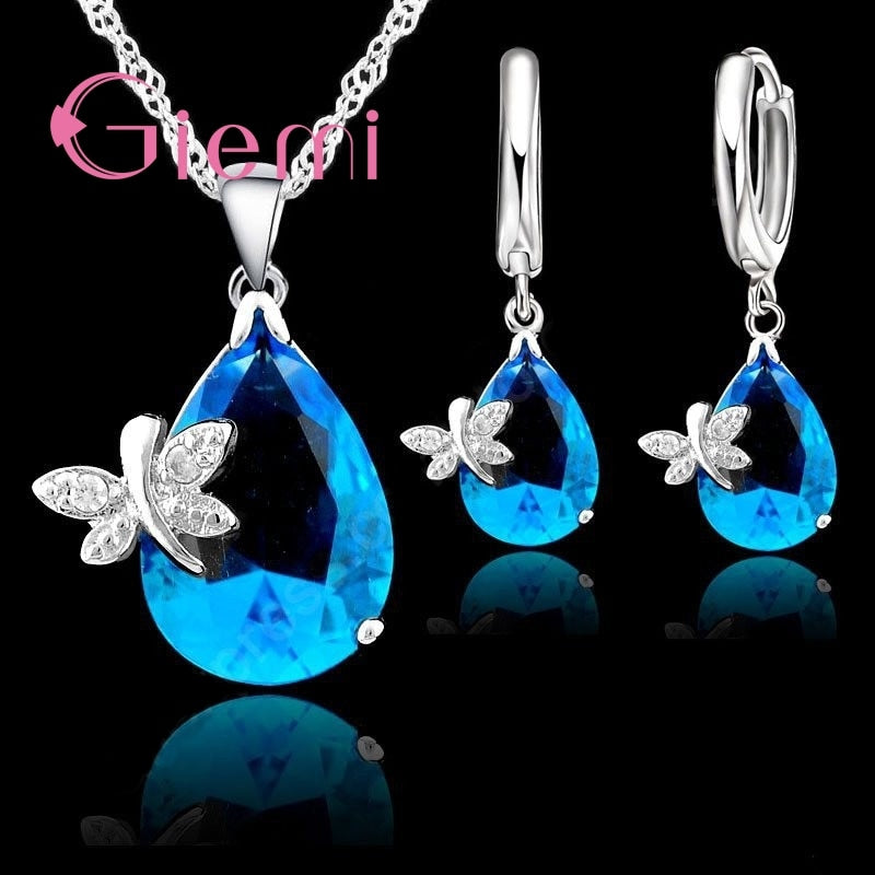 90% Off Original 925 Sterling Silver Jewelry Set Blue Water Drop Cubic Zirconia CZ Dragonfly Necklace Earring Wedding Accessory