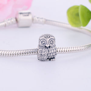 925 Silver Charming Owl Charms Fit Original Pandora Charm Beads Bracelet 2016 Winter Collection Bead Jewelry Making DIY Berloque
