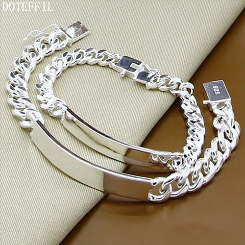 925 Silver Color 2pcs Bracelet Men Fashion Sideways Chain Bracelet Jewelry Best Gifts Classic Sideways Bracelet Party