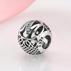 925 Sterling Silver Alphabet Letter M Bead kralen Charm Fit Original Pandora Charms Beads for jewelry making Hot sale 2018