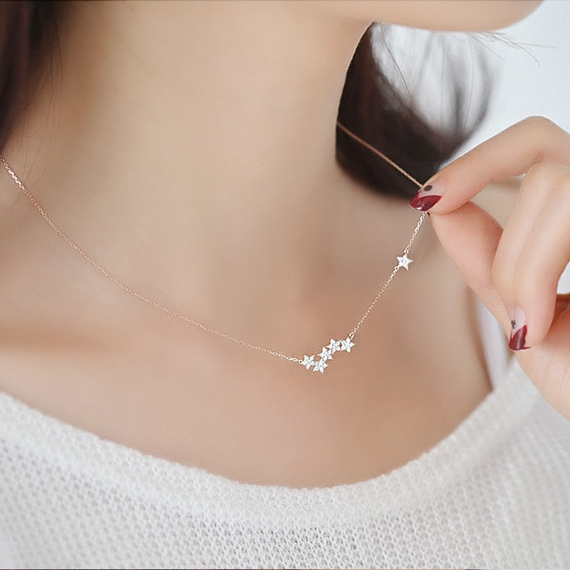 925 Sterling Silver Crystal Stars Necklaces & Pendant Statement Necklace for Women