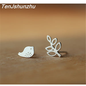 925 Sterling Silver Prevent Allergy Bird Leaf Stud Earrings for Women Bridal Wedding Earrings Jewelry  Accessories EH559