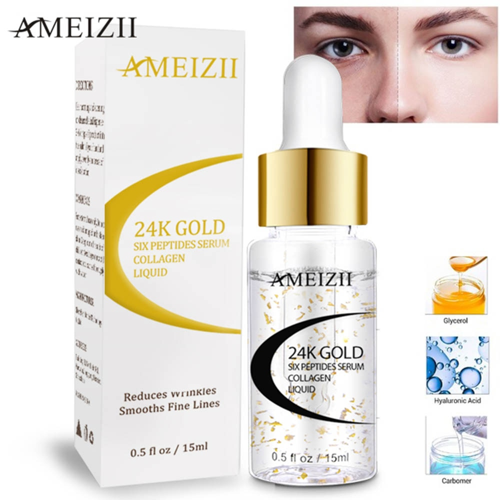 AMEIZII 24K Gold Six Peptides Serum Anti Wrinkle Collagen Whitening Face Cream Pure Hyaluronic Acid Skin Care Firming Essence