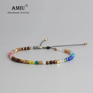 AMIU 12 Constellation Lucky Natural Stone Simple Bracelet Beads Adjustable Bracelet Hollywood Crystal Beaded Bohemia Bracelets