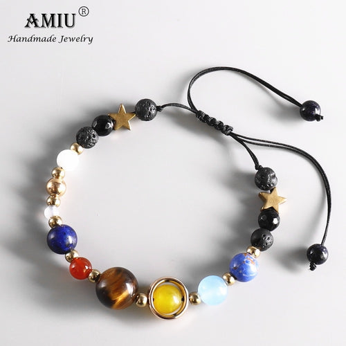 AMIU Universe Galaxy Eight Planets Solar System Guardian Star Natural Stone Beads Bracelet Bangle for Women Men Jewelry Bracelet