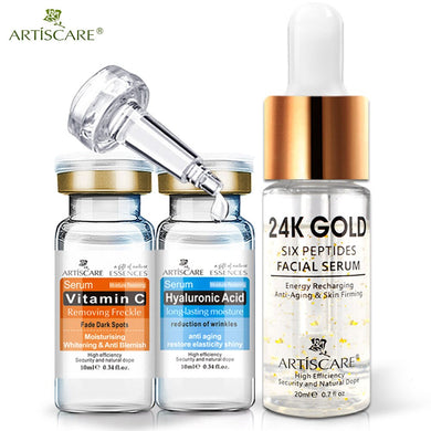 ARTISCARE 24K Gold Six Peptides Serum +Vitamin C Serum + Hyaluronic Acid Serum Anti-Aging Moisturizing Whitening Brighten Serum
