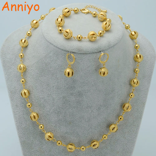 Anniyo Beads Jewelry sets Ball Necklaces Earrings Bracelet Gold Color Beaded Women Arab Jewelry Africa Ethiopian #020606