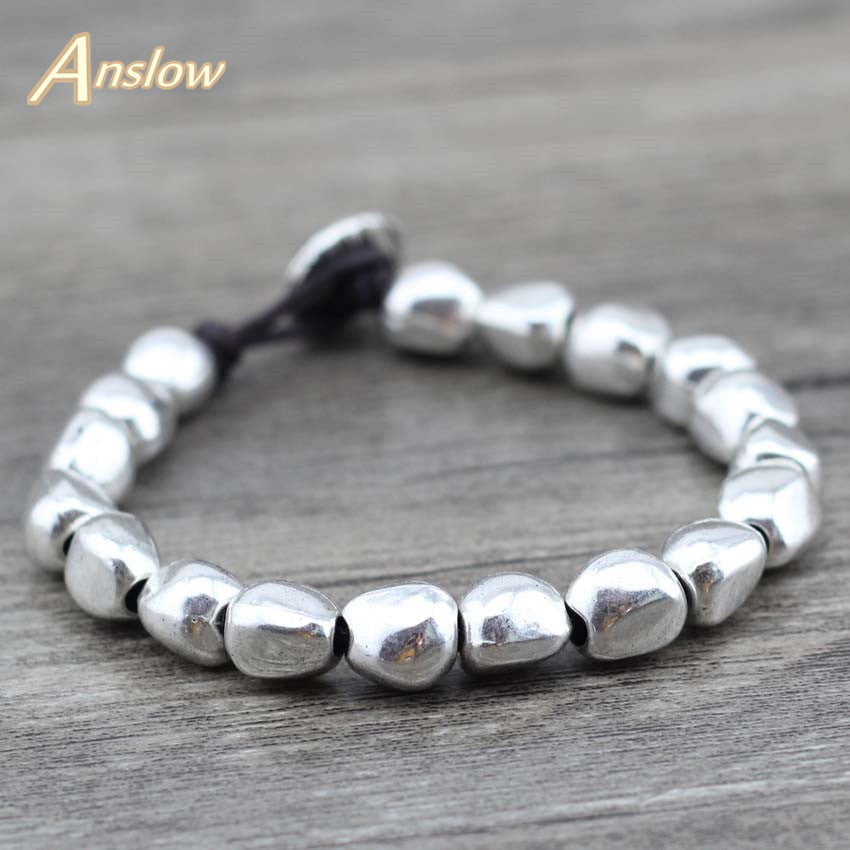 Anslow Sale Design Handmade DIY Zinc Alloy Beads Unique Silver Plated Friendship Wrap Bracelets Birthday Day Gift LOW0497LB