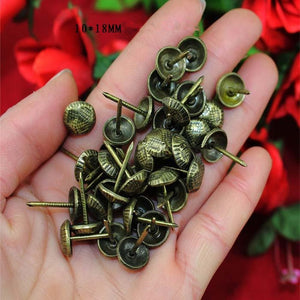 Antique Turtle Back Pattern Carved Nail Decorative Upholstery Tacks Stud Wooden Box Case Furniture Nails Pushpin,10*18mm,50Pcs