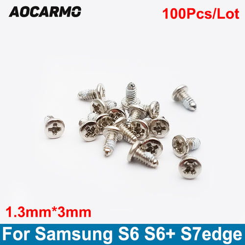 Aocarmo 100Pcs/Lot Replacement 1.3*3.0mm Inside Motherboard Frame Screw For Samsung Galaxy S6 S7 Edge Plus S6+