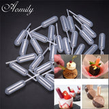 Aomily 50pcs/Set Ice Cream Jelly Milkshake Droppers Pipette Straw Dropper Disposable Straw Cupcake Mousse Macaron Baking Tools