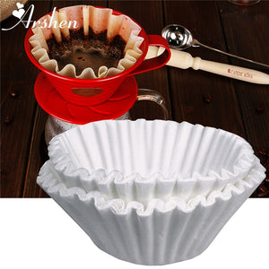 Arshen 50pcs/Set White Coffee Filters Single Serving Paper for Coffee Machine 24CM White Filter Paper Cake Cup Coffee Paper Bowl