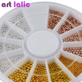 Artlalic  Nail Art Tiny Steel Caviar Beads Mix Size 3D Design Manicure Jewelry Rose Gold Silver DIY Decoration Wheel