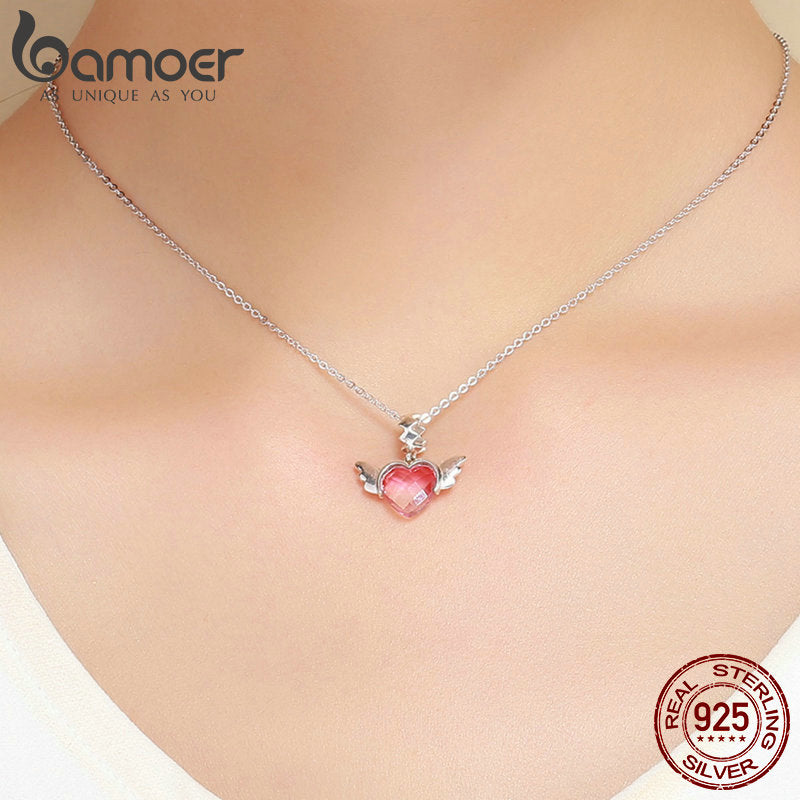 BAMOER 100% 925 Sterling Silver Love Heart Wings Pink Red Crystal CZ Pendant Charms Fit Bracelets & Necklaces DIY Jewelry SCC846