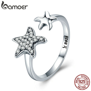 BAMOER 100% 925 Sterling Silver Trendy Star Sparkling Crystal CZ Finger Rings for Women Wedding Engagement Jewelry Gift SCR376