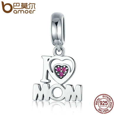 BAMOER 100% Authentic 925 Sterling Silver i Love Mom Letter Pendant Charms fit Bracelets Fashion Jewelry Mother Gift SCC420