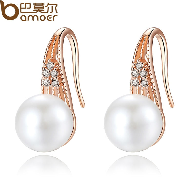 BAMOER Classic  Gold Color Imitation Pearl Drop Earrings with AAA Zircon Christmas Gift Jewelry JIE056