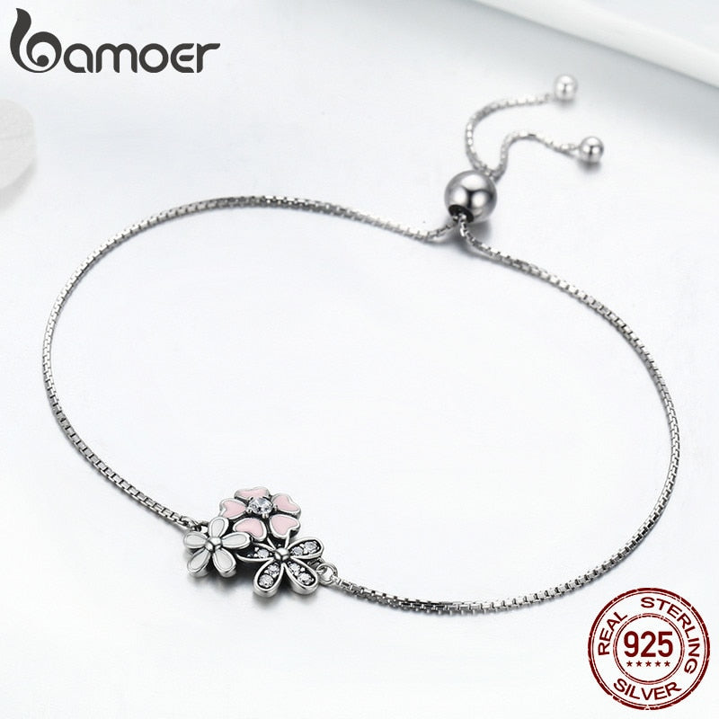 BAMOER Fashion 100% 925 Sterling Silver Cherry Daisy Flower Chain Link Women Bracelet Sterling Silver Jewelry Gift SCB055