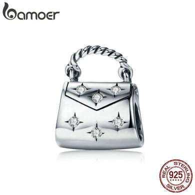 BAMOER Genuine 925 Sterling Silver Dazzling Clear CZ Women Handbag Charm Beads fit Charm Bracelet & Necklace 925 Jewelry SCC607