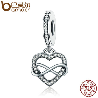BAMOER Genuine 925 Sterling Silver Endless Love Infinity Heart Dangle Beads fit Charm Bracelet for Women DIY Jewelry S925 SCC261