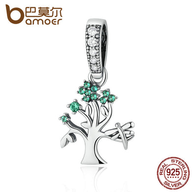 BAMOER Genuine 925 Sterling Silver Vivid Green Tree of Life Pendant Charms fit Bracelets Women DIY Beads & Jewelry Making SCC117