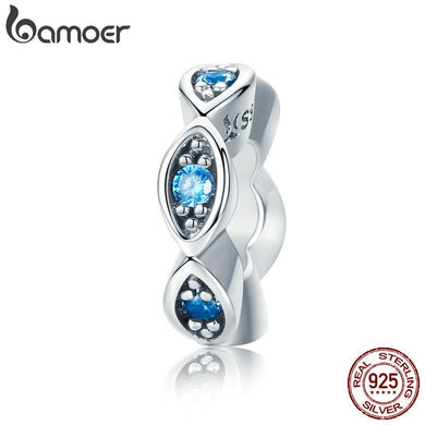 BAMOER Real 100% 925 Sterling Silver Lucky Blue Eye Glittering CZ Spacer Charm Beads fit Original Women Bracelet Jewelry SCC513