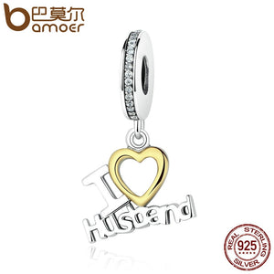 BAMOER Romantic 925 Sterling Silver I Love Husband Heart Pendants fit  Bracelet Gift for Lover Fine Jewelry SCC050