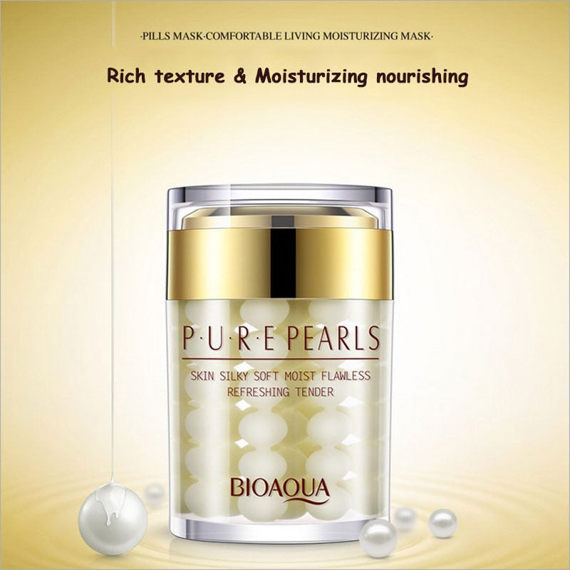 BIOAQUA 60ML Brand Pure Pearl Essence Face Cream Deep Moisturizing Skin Care Anti Wrinkle Face Care Whitening Essence Cream
