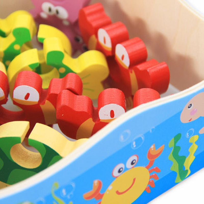 Baby Kid Wooden toys Magnetic Fishing Game 3D Jigsaw Puzzle Toy Interesting Baby Children Educational Puzzles Toy Gift