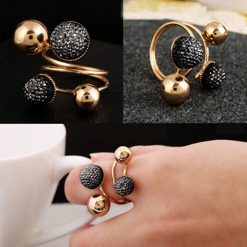 Ball Resin Little Golden Beans Ring Simple Jewelry Personality Punk Ring SIZE 18mm Retail& For Women