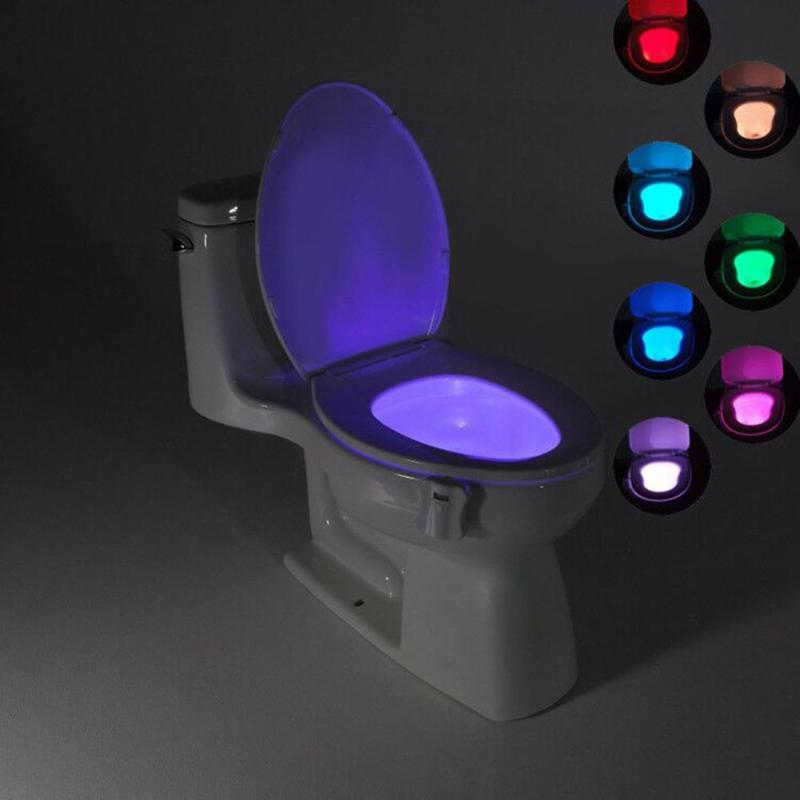 Bathroom Toilet Light LED Nightlight Body Motion Activated On/Off Seat Sensor Lamp 8 Colors PIR Toilet Night Light lamp