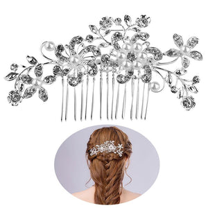 Beautiful Wedding Party Bridal Pearls Decor Flower Hairpin Hair Decoration (Silver)