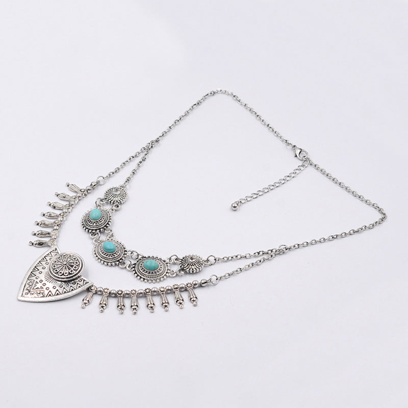 Bohemian Ethnic Style  Shield Necklace Women Vintage Antique  Chokers Necklaces&Pendants Fashion Jewelry