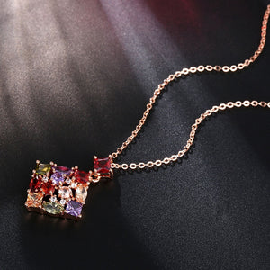 CARSINEL Fashion Colorful Square Cubic Zircon Stone Necklaces & Pendants Rose Gold color Gift Women Bride Wedding Jewelry NE0104