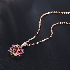 CARSINEL Luxury Flower Gold Color Jewelry Sets For Women Wedding with Colorful AAA Cubic Zircon  JS0135