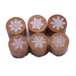 CCINEE 6 Styles Snowflake Wood Stamp 3cmx3cmx2.5cm Size Used For Christmas Gift Decoration Wooden Rubber Stamp